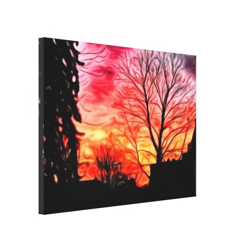red evening stretched canvas prints