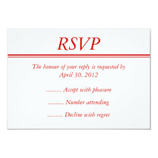 Red Event RSVP, Reply or Response Card 9 Cm X 13 Cm Invitation Card