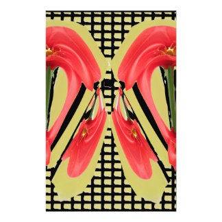 Red Exotic Tulip Flower Petal based Abstract Art 7 Customized Stationery