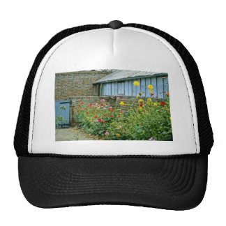 Red Exterior Of Greenhouse With Flower Bed - Dahli Trucker Hats