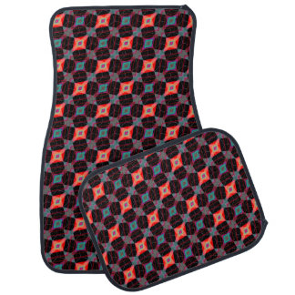 Red Eye Argyle Diamond Cube Geometric Mosaic Car Mat