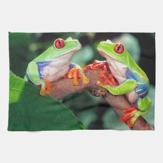 Red Eye Treefrog Pair, Agalychinis callidryas, Tea Towel