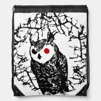 Red Eyed Owl Drawstring Bag