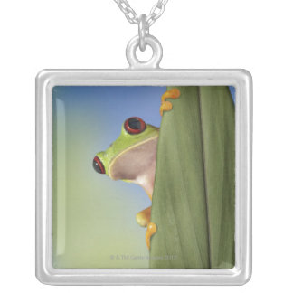 Red Eyed Tre Frog Peeking From Behind a Leaf Square Pendant Necklace