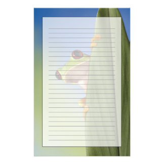 Red Eyed Tre Frog Peeking From Behind a Leaf Stationery