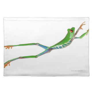 Red eyed tree frog jumping place mat