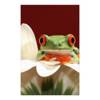 red eyed tree frog stationery design