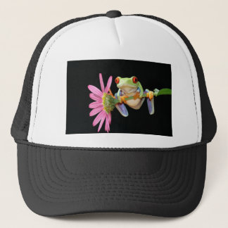red eyed tree frog trucker hat