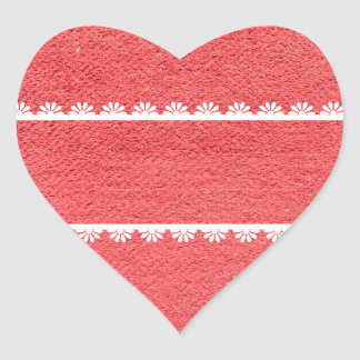 Red Fabric Texture with White Lace Heart Sticker