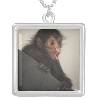 Red-faced Spider Monkey Ateles paniscus) Silver Plated Necklace