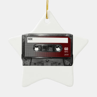 Red Fade Houndstooth Label Cassette Ceramic Star Decoration