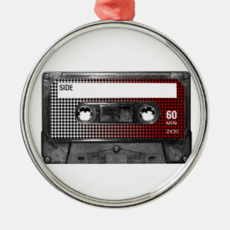 Red Fade Houndstooth Label Cassette Silver-Colored Round Decoration