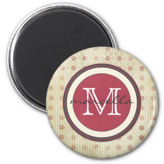 Red Faded Dots Monogram Refrigerator Magnets