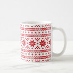 Red Fair Isle Pattern Basic White Mug