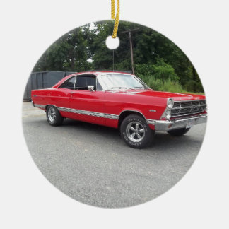Red fairlane 289 sweet ride with racing wheels christmas ornament
