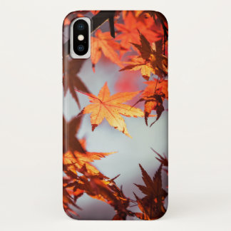 Red Fall Autumn Leaves Maple Tree iPhone X Case