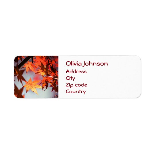Red Fall Autumn Leaves Maple Tree Return Address Label