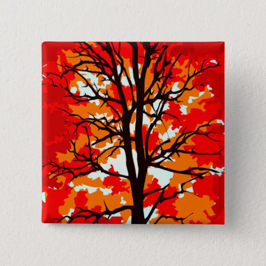 Red Fall Tree 15 Cm Square Badge