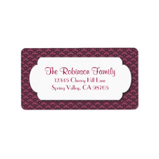 Red Fan Pattern with White Frame Address Label