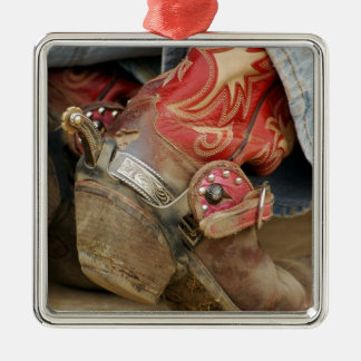 Red Fancy Cowboy Boot Silver-Colored Square Decoration