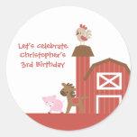 Red farm animals boy's birthday party stickers