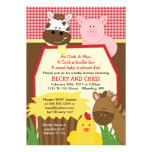 Red Farm Barnyard Baby Shower Invitation