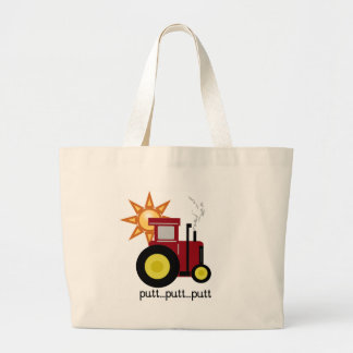 Red Farm Tractor Tote Bags