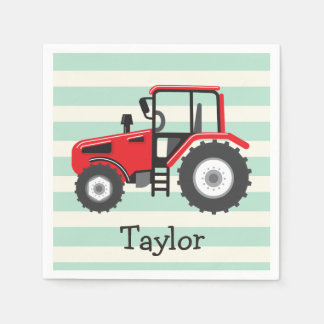 Red Farm Tractor Disposable Napkin
