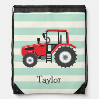 Red Farm Tractor Drawstring Bag