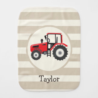 Red Farm Tractor on Tan Stripes Burp Cloth