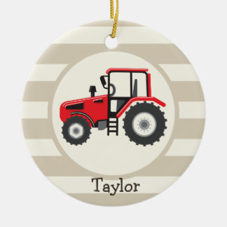 Red Farm Tractor on Tan Stripes Christmas Ornament