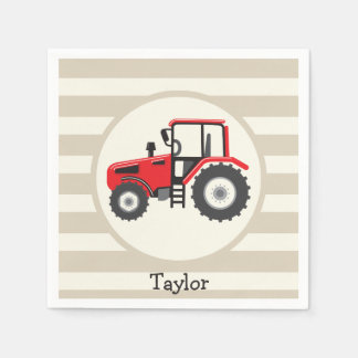 Red Farm Tractor on Tan Stripes Disposable Serviette