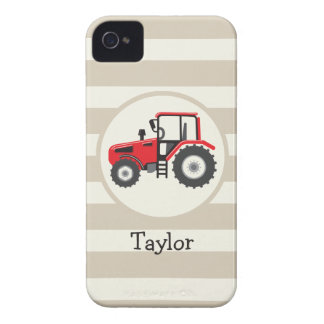 Red Farm Tractor on Tan Stripes iPhone 4 Case