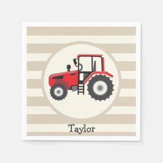 Red Farm Tractor on Tan Stripes Disposable Napkin