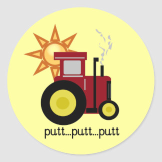 Red Farm Tractor T-shirts and Gifts Round Stickers