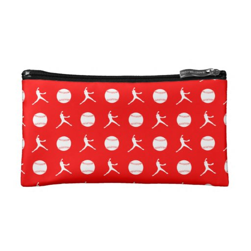 Red Fastpitch Pattern Clutch Cosmetics Bags