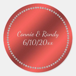 Red Faux Foil Wedding Sticker
