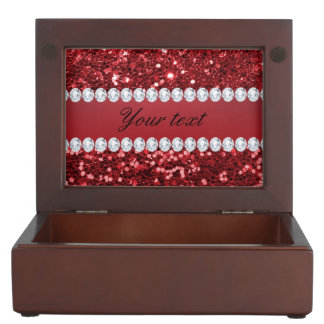 Red Faux Glitter and Diamonds Keepsake Boxes