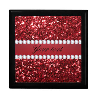 Red Faux Glitter and Diamonds Large Square Gift Box
