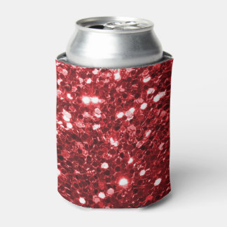 Red Faux Glitter Can Cooler