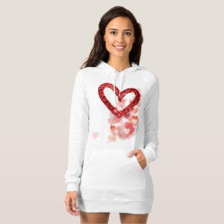 Red Faux Glitter Heart & Heart Clusters Dress