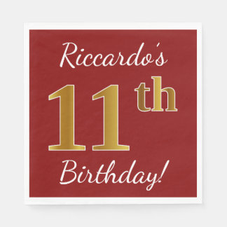 Red, Faux Gold 11th Birthday + Custom Name Disposable Serviette