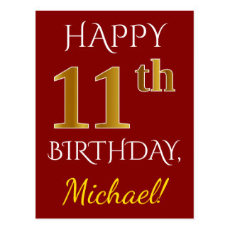Red, Faux Gold 11th Birthday + Custom Name Postcard