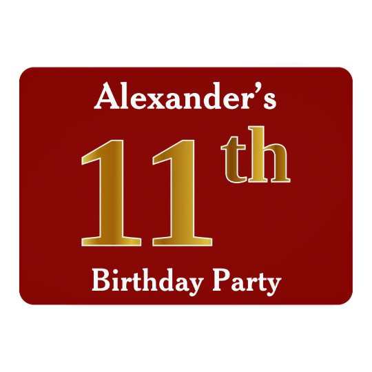 Red, Faux Gold 11th Birthday Party + Custom Name Card