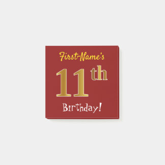 Red, Faux Gold 11th Birthday, With Custom Name Post-it Notes