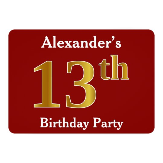 Red, Faux Gold 13th Birthday Party + Custom Name Card
