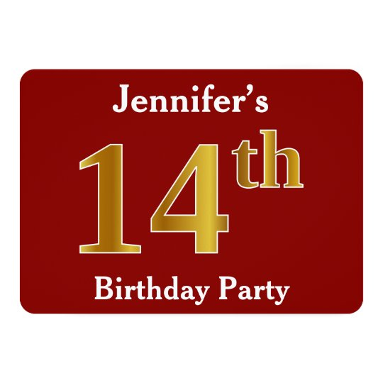 Red, Faux Gold 14th Birthday Party + Custom Name Card