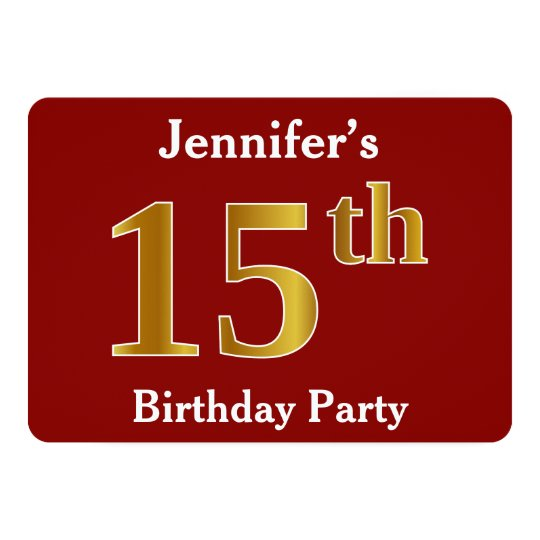 Red, Faux Gold 15th Birthday Party + Custom Name Card