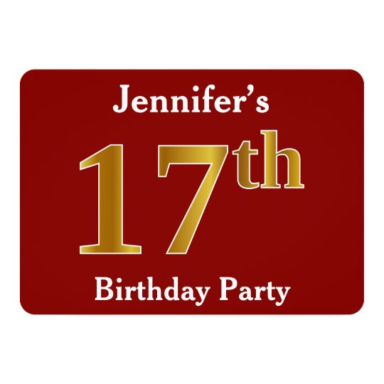 Red, Faux Gold 17th Birthday Party + Custom Name Card