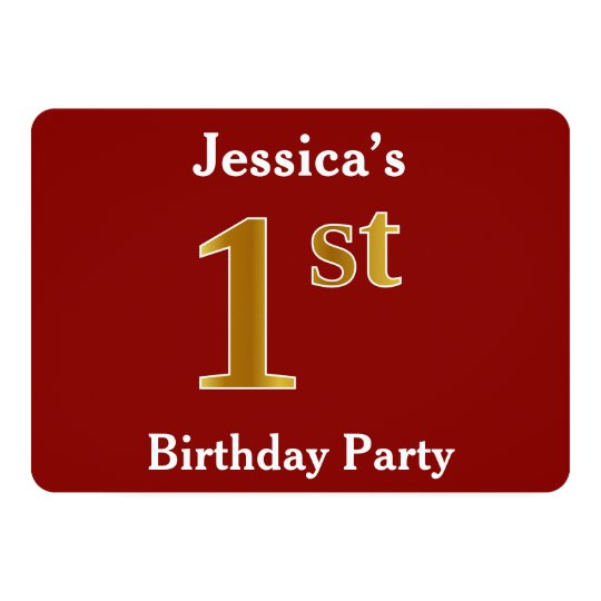 Red, Faux Gold 1st Birthday Party + Custom Name Card